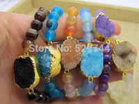 Wholesale Natural Assorted Stone Bracelet mm Beads with Druzy Agate Connectors Nice Quality
