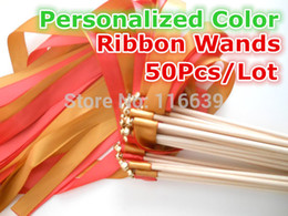 Wholesale-(50Pieces Lot) DIY Personalized Wedding Ribbon Stick Wands Twirling Streamers With Bell