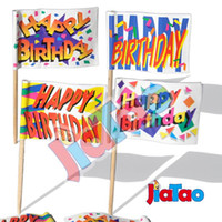 Wholesale- Shipping free 100pcs pack Happy Birthday cocktail ...