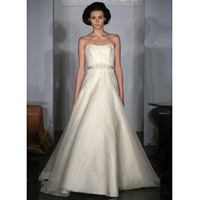 Wholesale Fashion Sweetheart A Line Beading Organza Lace Ribbons Wedding Dresses Dress Bridal Gowns