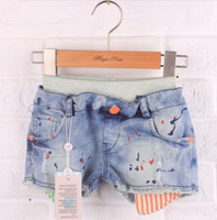 Cheap Wholesale-Retail ripped denim shorts for girls 2015 new arrival girl fashion brand jeans shorts for children one piece free shipping