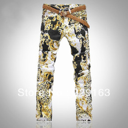 Wholesale-European and American Style printed jeans for men mens leopard print pants, slim straight denim pants for men Free shipping