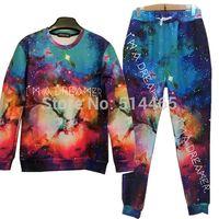 Cheap Wholesale-Hot 2015 Harajuku star printed sweat suit tracksuit for men women girl boy sport joggers&sweatshirt pants set outfit clothing