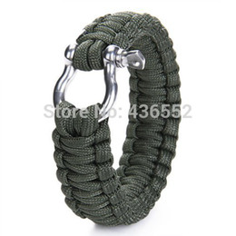 Wholesale-Paracord 550 Survival Bracelet with Stainless Steel Bow Shackle Paracord BucklesTravel Kit Survival Tool For Camping- Army Green