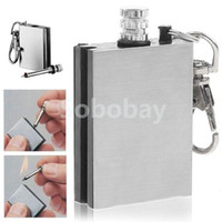 Wholesale Hot Flint Fire Starter Match Lighter Stainless Steel One Million Time Key Chain Match Survival Kit