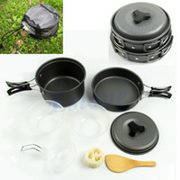 backpacking dinner - Hot Sale set Outdoor Camping Hiking Cookware Backpacking Cooking Picnic Bowl Pot Pan Set Dinner Box