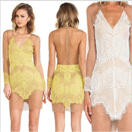 Wholesale-Free shipping hot sale Vestidos Sexy Lace Mesh For Love And Lemons hollow out Dresses White Black And Yellow S M L