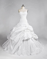 Wholesale Hot Sale Strapless Crystals Wedding Dresses Sweetheart Ball Taffeta Lace Appliques Bridal Gowns