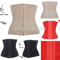 Cheap Wholesale-Sexy Upgrade Shapewear Women Full Steel Boned Waist Training Corset Underbust Bustier Free Shipping 3 Colors Size XS--6XL
