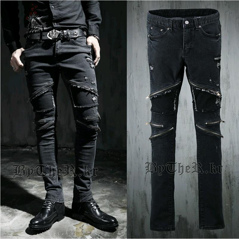 2017 Wholesale Harajuku 2015 Zipper Brand Punk Slim Skinny Jeans ...