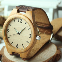 gift items - Fashion Men s Bamboo Wooden Watches With Genuine Cowhide Leather Band Luxury Wood Watches for Men Best Gifts Item