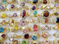 Mexican Women's Party Ring Jewelry Lots 30 pieces Rhinestone CZ Gold Rings Hot Sale [CZ41*30]
