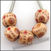 Wholesale European Coffee Wooden Charms Beads Fit Bracelet