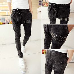 Wholesale,Men HIPHOP Low Drop crotch pants men denim Jeans Harem hip hop  pants sarouel men baggy pants Stretch trousers casual pantalon