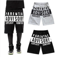 Wholesale new arrival mens shorts Parental Advisory Skateboard hip hop boy Hip Hop sport short pant Casual Men Hipster pants hiphop