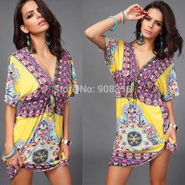 Wholesale-Plus Size M L XL XXL Sexy Floral Printed Bohemian Dress Women Summer Dress 2015 New Women Beach Dress Sundress Vestidos C0641
