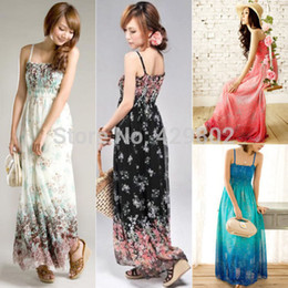 Wholesale Summer New Women Ladies Chiffon Boho Beach Maxi Dress Sleeveless Pleated Long Sundress