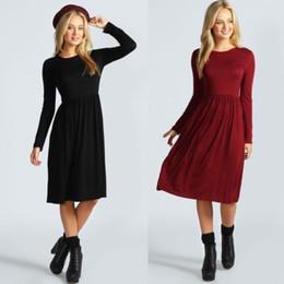 Wholesale-Womens Ladies Long Sleeves Flared Franki Swing Midi Skater Dress Plus Size AL916