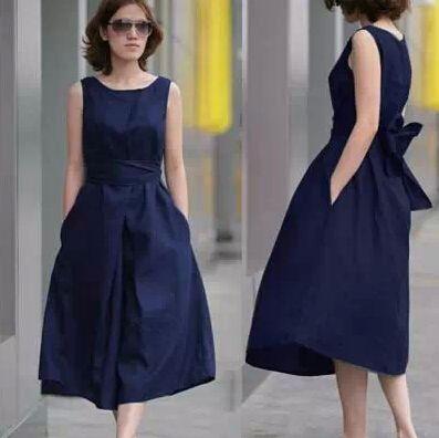 Wholesale-fahsion Europe brand new plus size summer dresses, women sleeveless cotton Linen loose casual dress hot sale