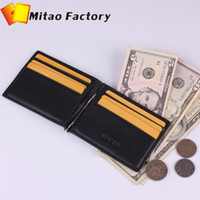 Cheap Wholesale-Birthday Gift ! Free Shipping Luxury Leaher Man Slimfold Wallet Clip With Business Card Holder Black Color With Gift Box