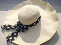 Red folding straw hat - New Style straw Hat fashionable folding Sun hat beach hat