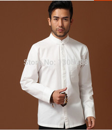 Wholesale- New 100% cotton Chinese Men's traditional clothing dress shirt long sleeves white Sz: S M L XL