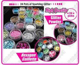 24 Pot Nail Art Poudre scintillante strass poudre de strass à partir de ongles glitter pots fournisseurs