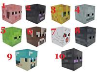 Wholesale Minecraft Masks Steve Creeper Zombie Box head mask set Party masks paper model Headgear