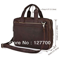 crazy horse leather - Crazy Horse Leather Men s Dark Brown Laptop Bag Handbag Briefcase R