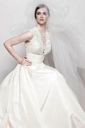 Wholesale Sexy V Neck Wedding Dress Taffeta Short Sleeves Chapel Train Bridal Gown WB11009 WBWG