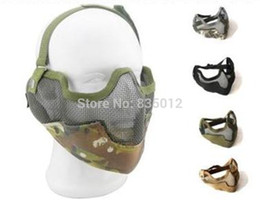 Wholesale Tactics Half face metal net mesh protect mask airsoft hunting Military Multicam colors Free ship