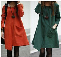 Wholesale New Casual Autumn and Winter Women dress O Neck Loose Temperament Wild Lrregular Maternity Dress Clothes For Pregnant Women