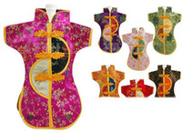 Wholesale Vintage Chinese style Wine Bottle Clothing Party Decoration Silk Brocade Wine Gift Bags mix color