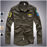 Wholesale Men s button down long sleeve cotton shirt with embroidery badge slim military outdoor shirt XL