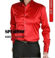 Cheap Wholesale- Silk Mens Casual Shirts Long-sleeve Slim Shirt shirts 9 colors S M L XL XXL XXXL