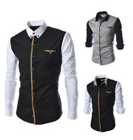 Wholesale Mens patchwork casual long sleeve shirt cotton slim dress fashion men s shirt size M XXXL