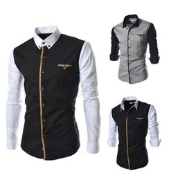 Wholesale- Mens patchwork casual long-sleeve shirt cotton slim dress fashion men shirt size M-XXXL