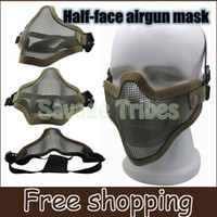 air soft bb - BB bomb game mask Half Face Metal Mesh Protective Mask with Double Belt Air soft Paintball Resistant Man s mask