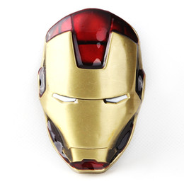 Wholesale-Iron Man Buckle Mens Vintage Western Marvel Comics Hero Iron Mask Removable Metal Belt Buckle
