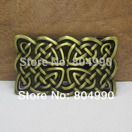 Wholesale Fashion belt buckle with knots with antique brass finish FP suitable for cm wideth belt with continous stock
