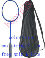Wholesale Full Carbon badminton racket racquet no logo blue free cover amp grip amp line