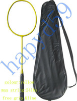 Wholesale Full Carbon badminton racket racquet no logo yellow free cover amp grip amp line