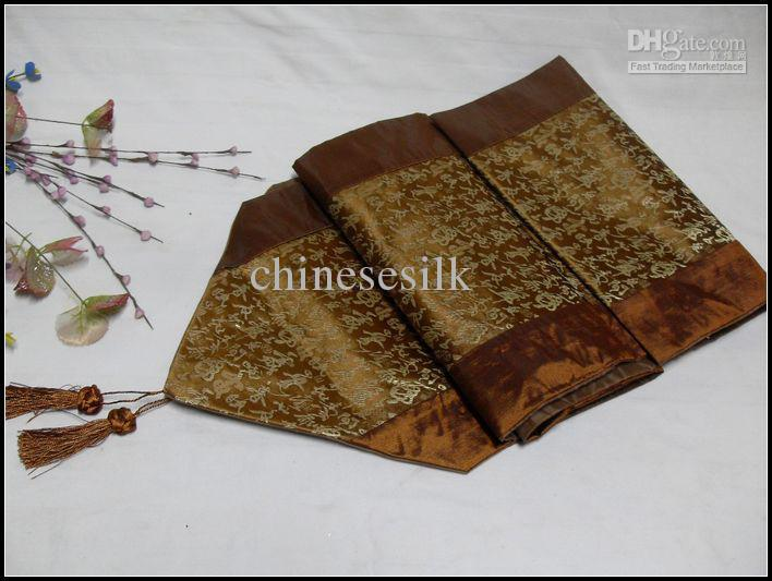 ... Table Cheap Fabrics Runner Table Runners Flag Decor Brown Gold Table  Cheap Silk Table Runners ...