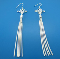 Silver Silver Non-Stone 2011 FASHION WHOLESALE 925 STERLING SILVER TALL AND THIN CHINESE KNOT DANGLE EARRINGS JEWELRY .