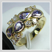 Wholesale Gemstone Jewelry K Yellow Gold Wedding Band Gp Amethyst Zircon Ring