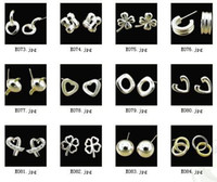 Wholesale MIX STERLING SILVER HEART BEAD STUD EARRINGS HIGH QUALITY JEWELRY