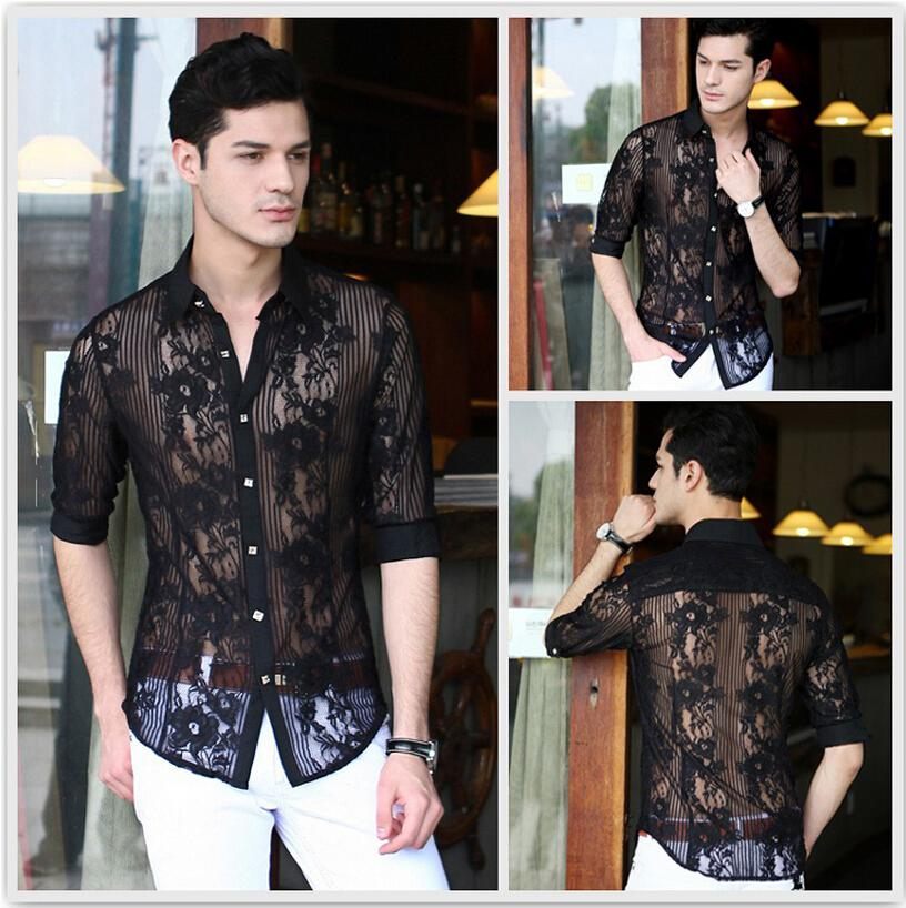 Wholesale-New 2015 Fashion Lace Chiffon casual men shirt sexy mens see through shirts designer clothes,plus size dresses xxxl,white black