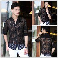 Wholesale New Fashion Lace Chiffon casual men shirt sexy mens see through shirts designer clothes plus size dresses xxxl white black
