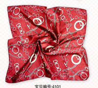 Wholesale Red Silk Scarf Square Scarf Necker Chief Cheap Fashion Small Women s Scarf Set mix Free