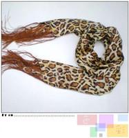 Wholesale Leopard Silk Scarf Long Scarf Skinny Scarf Fashion Tassel Womens Scarf mix Free